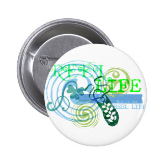 Reel Life in Blue Pinback Button