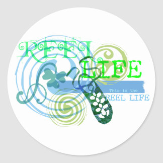 Reel Life in Blue Classic Round Sticker