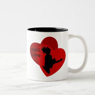 Reel Love - Irish Dance - Red Hearts Two-Tone Coffee Mug
