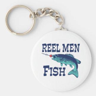 Reel Men Fish Basic Round Button Keychain