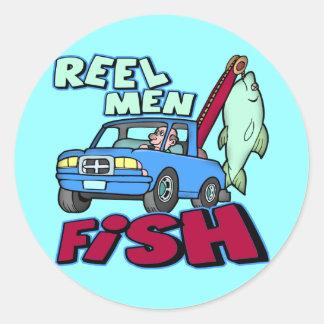 Reel Men Fish Fishing T-shirts Gifts Classic Round Sticker