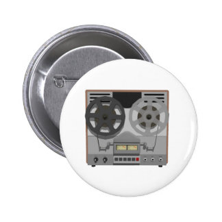 Reel to Reel Tape Player: 3D Model: Pinback Button