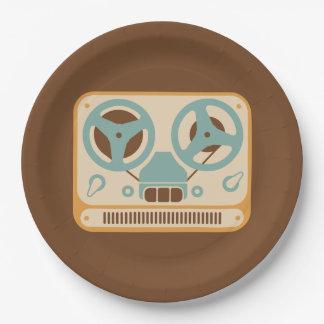 Reel to Reel Tape Recorder Analog Design Paper Plate