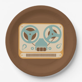 Reel to Reel Tape Recorder Analog Design 9 Inch Paper Plate