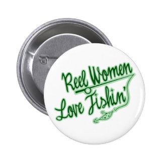 Reel Women Love Fishing womens outdoor Pinback Buttons