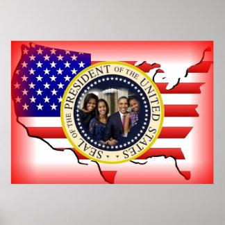 Reelección 2012 de presidente Obama Póster