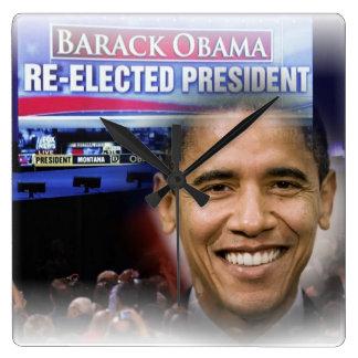 Reelección 2012 de presidente Obama Reloj Cuadrado