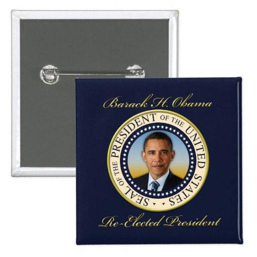 Reelección conmemorativa de presidente Barack Obam Pin Cuadrada 5 Cm