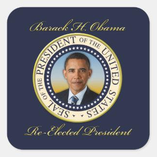 Reelección conmemorativa de presidente Barack Pegatina Cuadrada