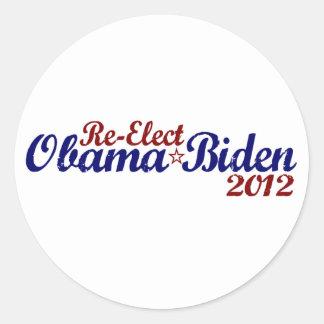 Reelija a Obama Biden 2012 Pegatina Redonda