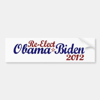 Reelija a Obama Biden 2012 Pegatina Para Auto