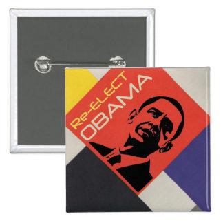 Reelija a Obama: Diseño del arte moderno Pin Cuadrado
