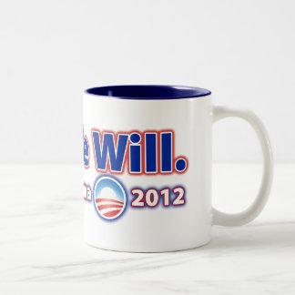 Reelija a presidente Obama 2012 que podemos sí Taza De Dos Tonos