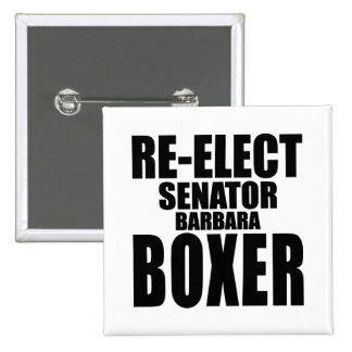 Reelija a senador Barbara Boxer Pin Cuadrado