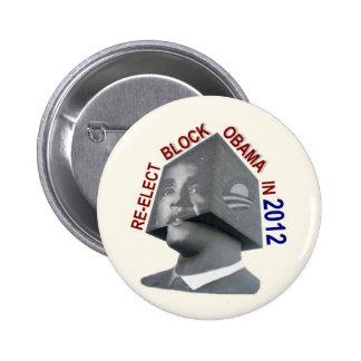 Reelija el bloque Obama Pin Redondo De 2 Pulgadas