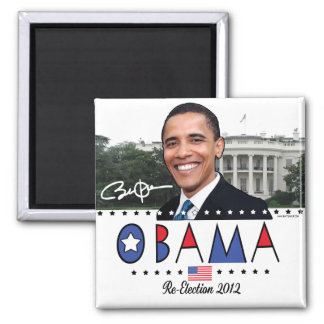 Reelija el engranaje de presidente Obama Election  Imán Cuadrado