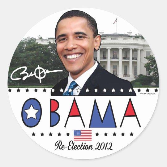 Reelija el engranaje de presidente Obama Election Pegatina Redonda