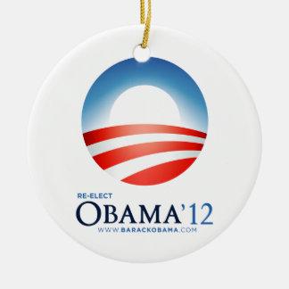 Reelija el ornamento de Obama '12 Adorno Navideño Redondo De Cerámica