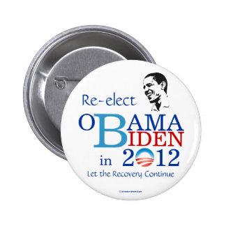 Reelija el pinback político de OBAMA BIDEN en 2012 Pin Redondo De 2 Pulgadas