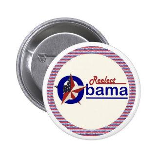 Reelija la estrella patriótica de Obama Pin Redondo De 2 Pulgadas