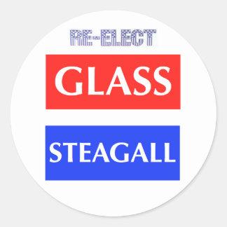 Reelija Steagall de cristal Pegatina Redonda