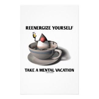 Reenergize tardan vacaciones mentales papelería personalizada