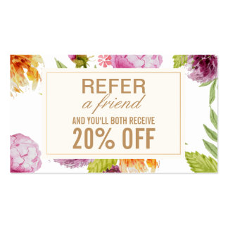 Refer a Friend Beauty Salon Floral Referral Card Business Card