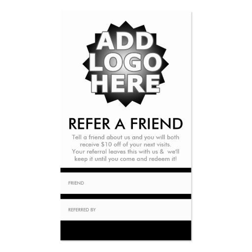 Refer a friend double sided standard business cards pack for Refer a friend business cards