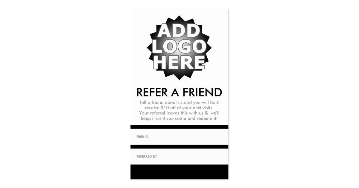Refer a friend business card zazzle for Refer a friend business cards
