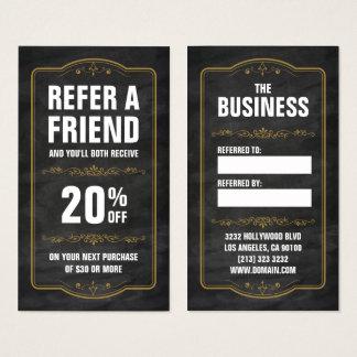 Refer a Friend Chalkboard Bold Referral Business Card
