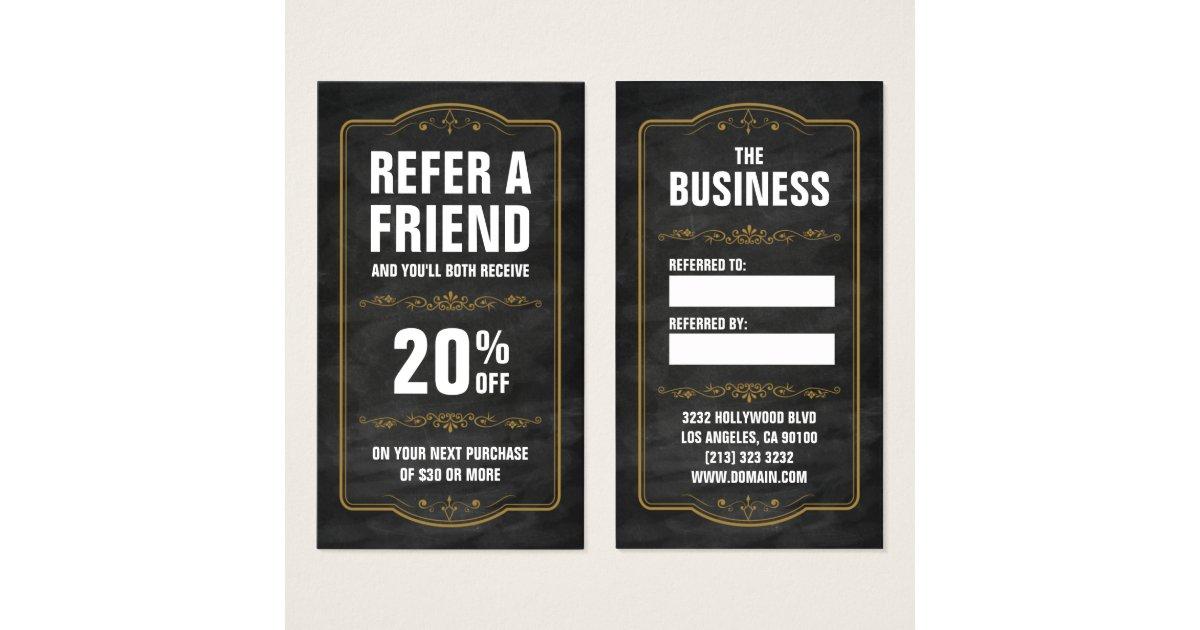 Refer a friend chalkboard bold referral business card zazzle for Refer a friend business cards