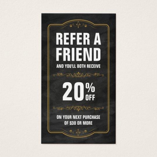 Refer a friend chalkboard bold referral business card zazzle for Zazzle referral cards