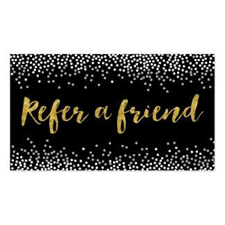 Refer a Friend Modern Confetti Dots Referral Business Card