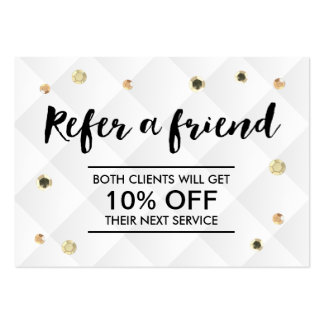 Refer a Friend Modern Gold Sequins Promotional Large Business Card