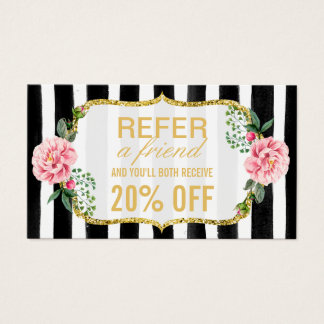 Refer a Friend | Pink Floral Gold Stripes Referral Business Card