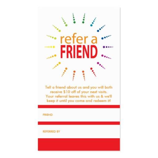 Refer a friend rainbowburst business card zazzle for Refer a friend business cards