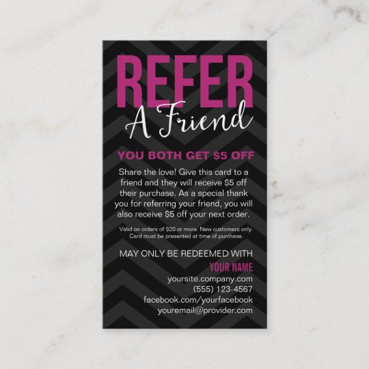 Refer a friend referral card business cards zazzle refer a friend referral card business cards colourmoves