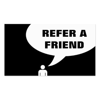 refer a friend speech bubble business cards
