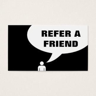 refer a friend speech bubble business card