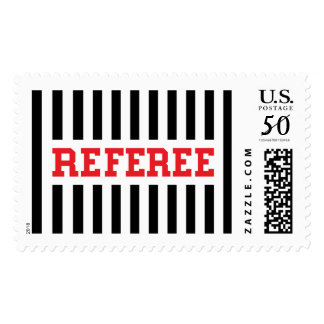 Referee black and red design postage