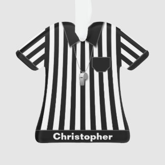 Referee Black & White Striped Uniform Personalized Ornament