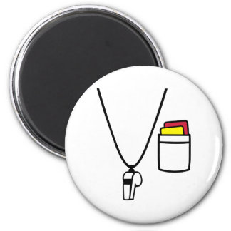 Referee cards whistle 2 inch round magnet