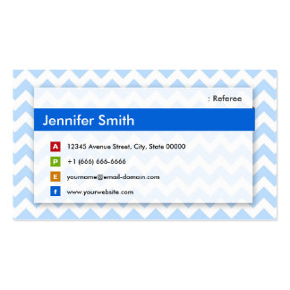Referee - Modern Blue Chevron Double-Sided Standard Business Cards (Pack Of 100)