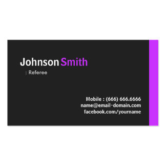 Referee - Modern Minimal Purple Double-Sided Standard Business Cards (Pack Of 100)