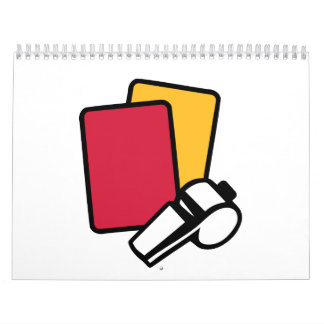 Referee red yellow card whistle wall calendars