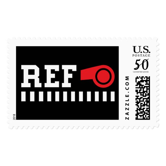 Referee - ref - design with red whistle postage