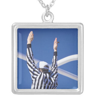 Referee signaling touchdown or successful field square pendant necklace