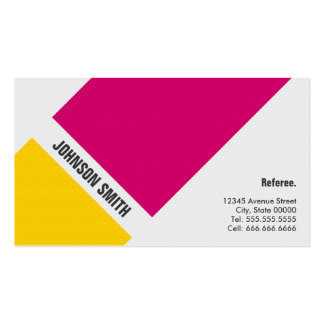 Referee - Simple Pink Yellow Double-Sided Standard Business Cards (Pack Of 100)