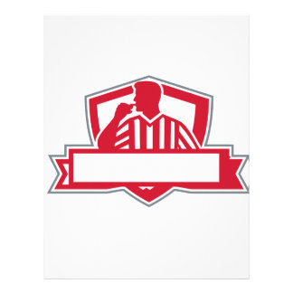 Referee Umpire Official Whistle Side Crest Retro Letterhead