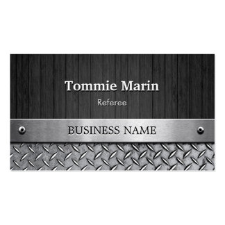 Referee - Wood and Metal Look Double-Sided Standard Business Cards (Pack Of 100)